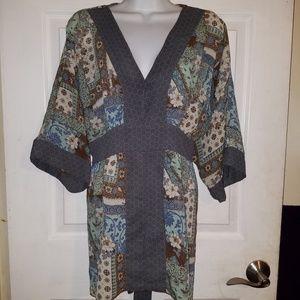 Faded Glory Boho Kimono Style Tunic Blouse Top